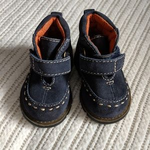 Blue suede high top baby shoes sz 2